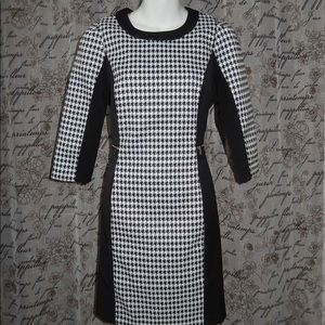 H&M Black White Houndstooth Zippered Dress Sz 10